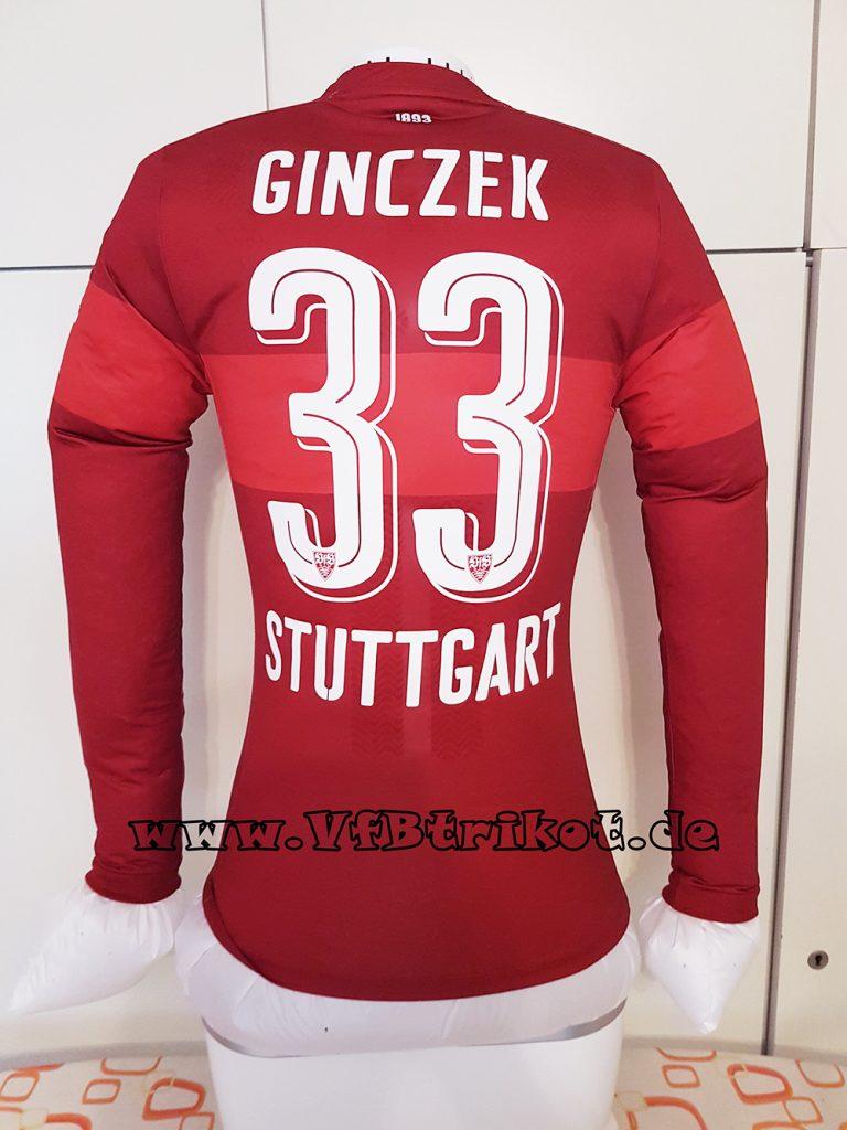 Daniel Ginczek - VfB Stuttgart matchworn Trikot - 2016/17 - rot - langarm - PowerCell Activ